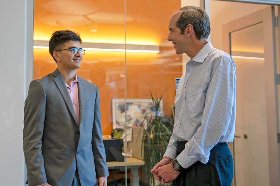 Above: Avi Gupta and Brian Druker, MD, director of the OHSU Knight Cancer Institute