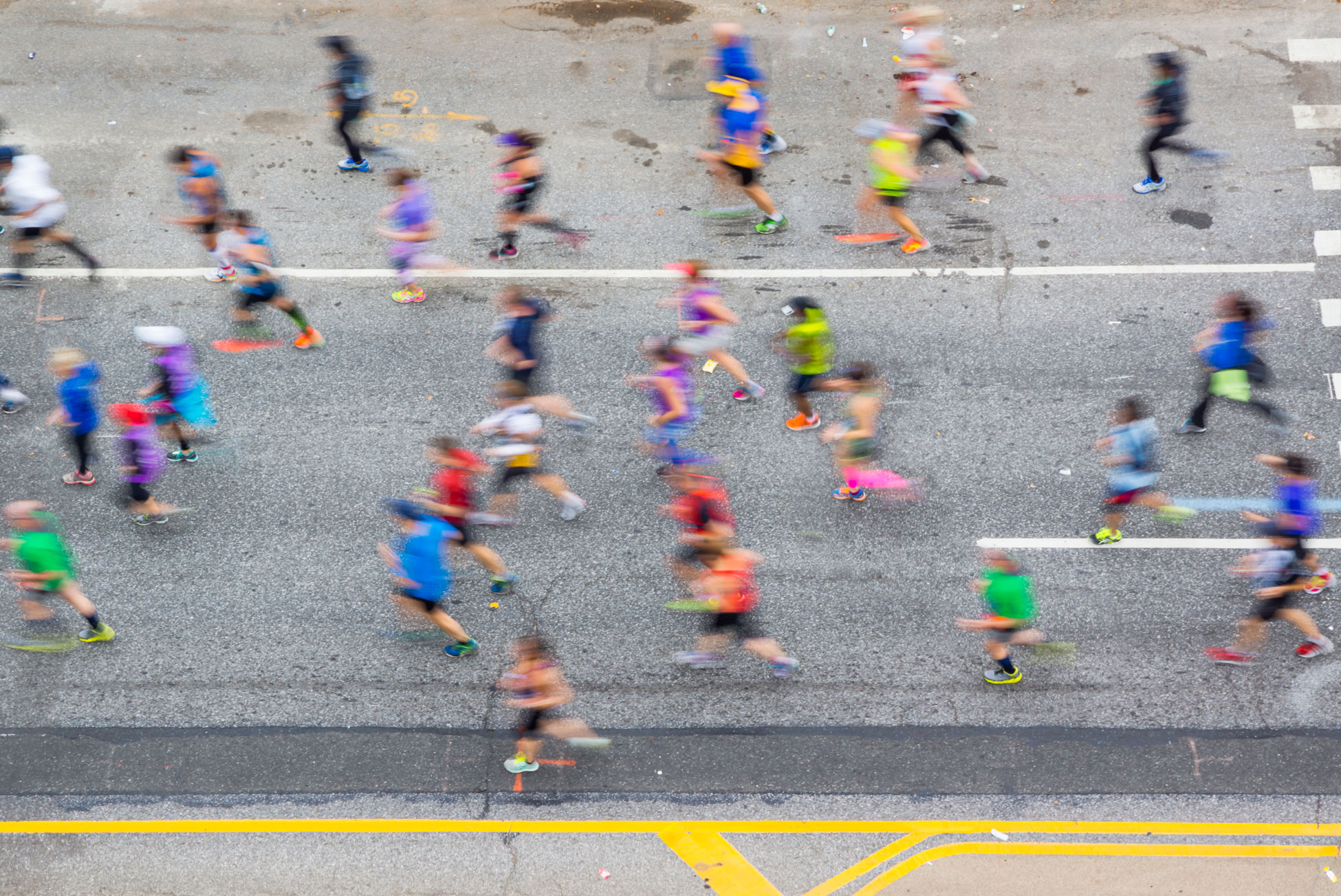 Runners in a 10K race seen from above