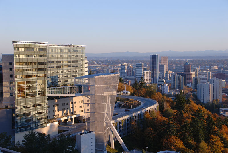 OHSU's Kohler Pavilion and tram looking north over the autumn hills