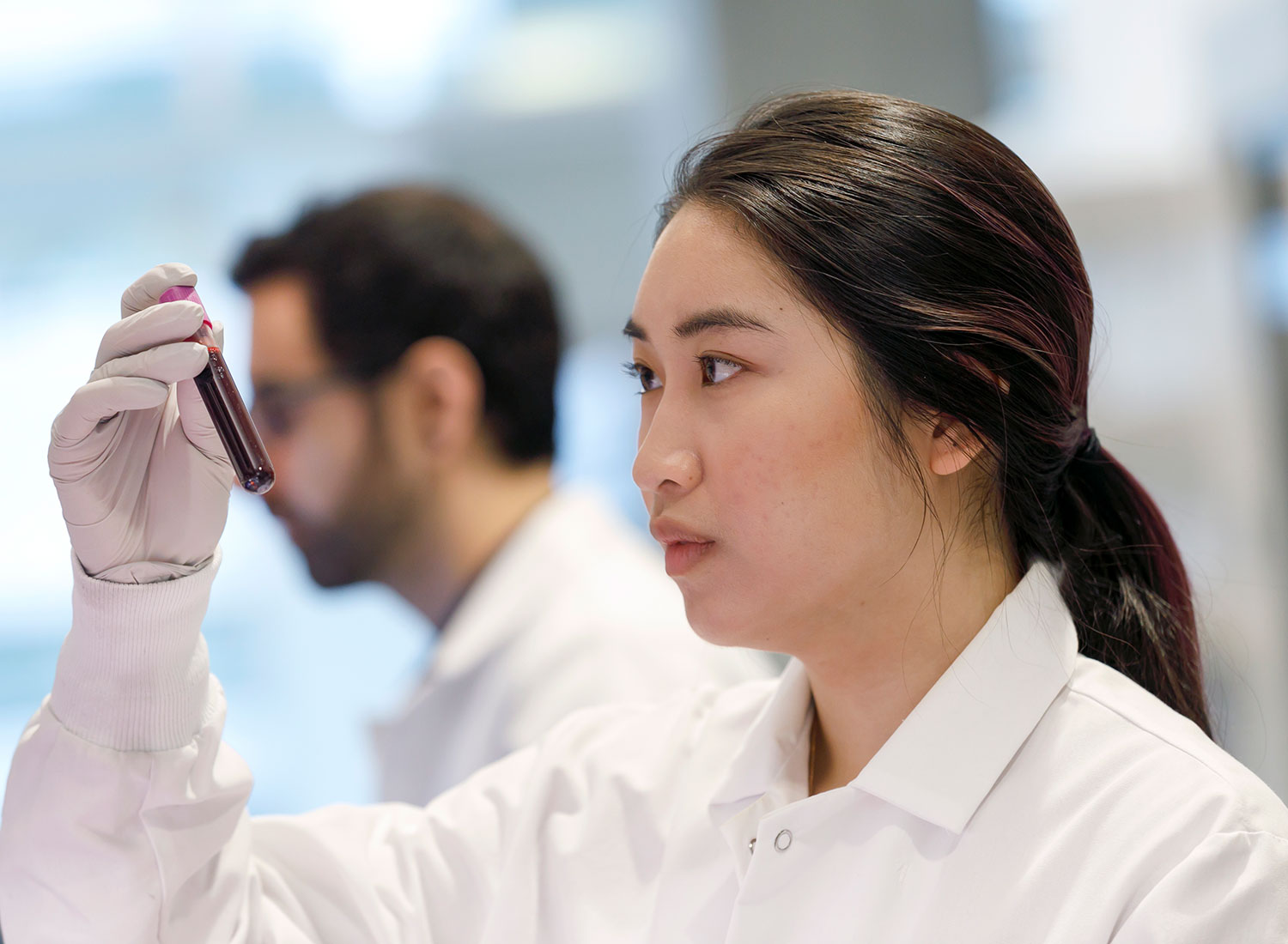 Research assistant Jenny Chu looks over blood samples in the lab at OHSU Knight Cancer Institute's Cancer Early Detection Advanced Research
