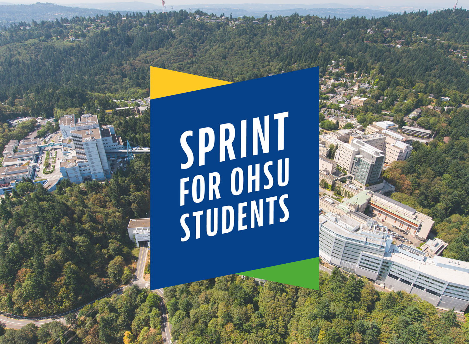 """Aerial photo of OHSU's Marquam Hill campus with """"sprint for OHSU students"""" logo overlay"""