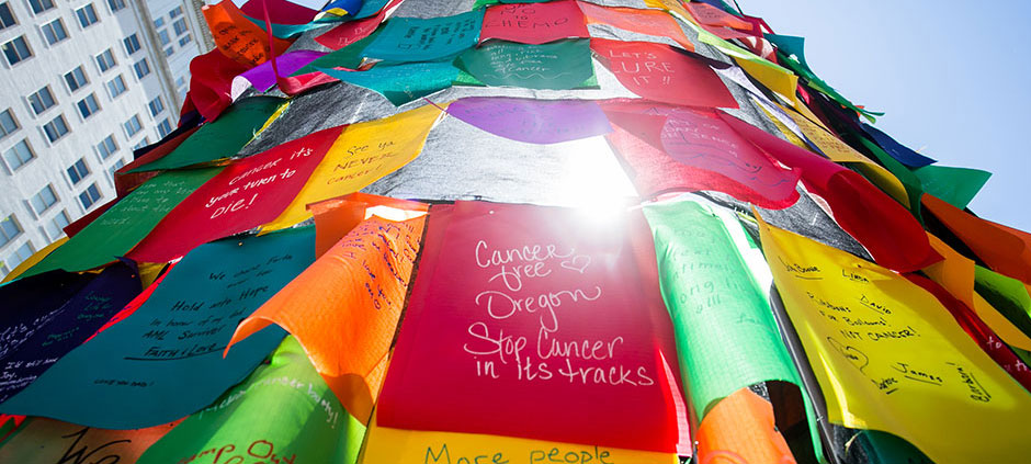 cancer wish flags at Knight Cancer Challenge event